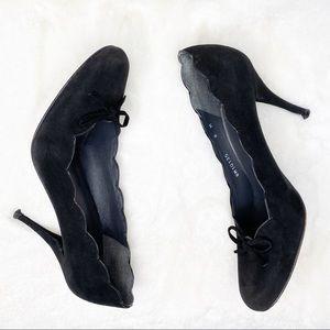 Stuart Weitzman Black Suede Bow Heels